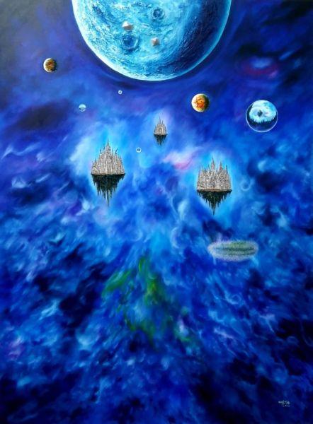 《三界》星球系列38油画综合材料200cmx160cm  2016年《三界》系列是图片